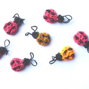 A 'Flock' of loom band ladybirds on the fridge