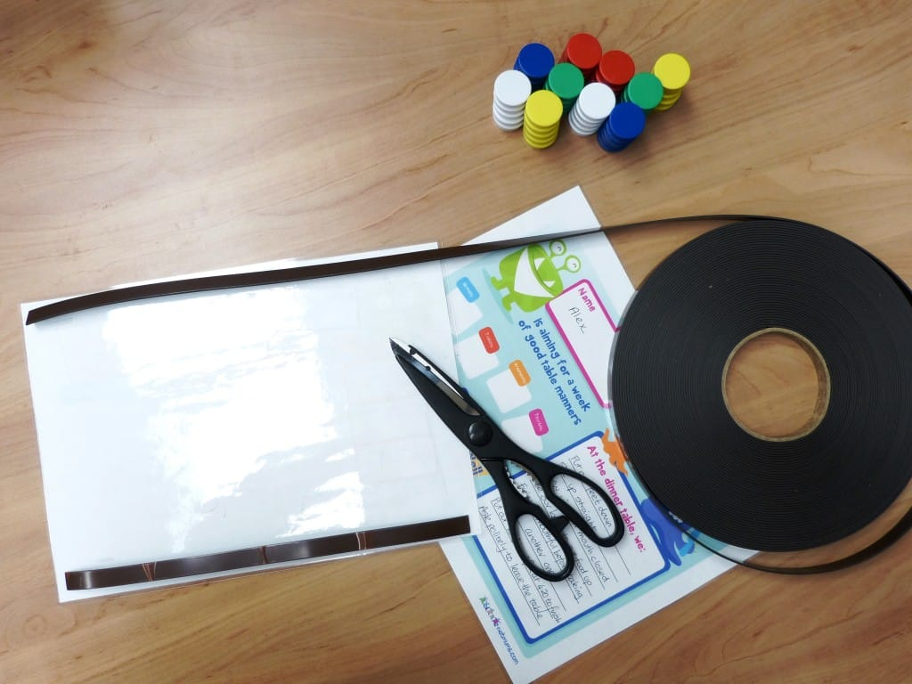 Adding the magnetic strip to the behaviour chart