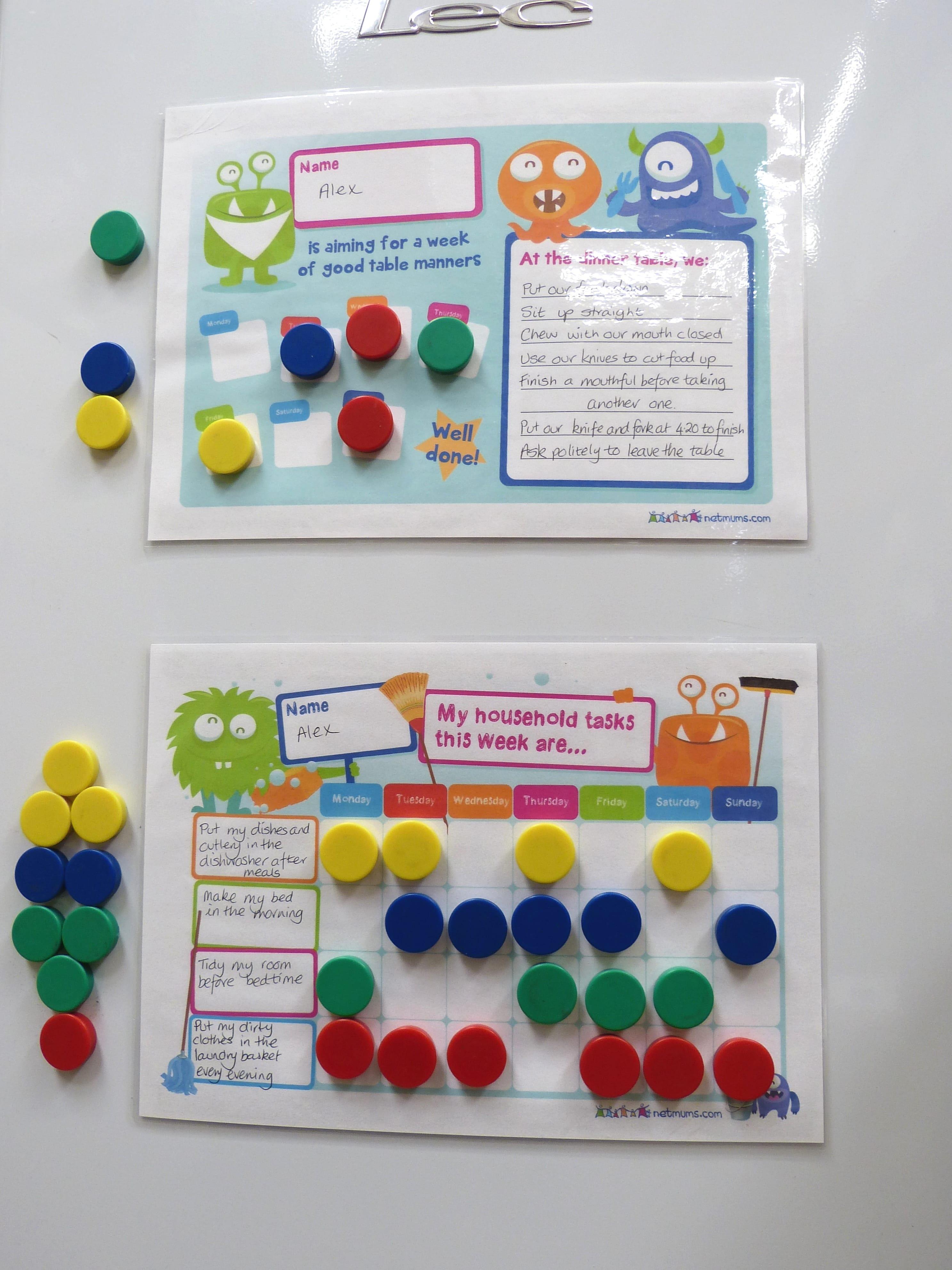 magnetic reward charts for kids
