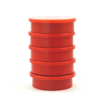 31.2mm x 8.8mm office magnet pack of 5- all RED