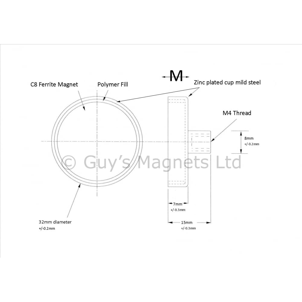32mm X 7mm Ferrite Pot Magnet With M4 Female Threaded Hole Schematic