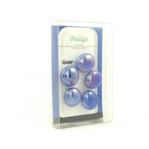 Glass Pebble fridge /whiteboard magnets BLUE - pack 5