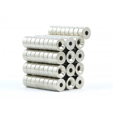 10 mm x 5 mm N38 grade countersunk neodymium ring 3.15 mm countersunk hole - PACK OF 5