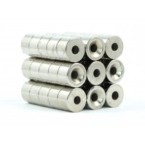 15 mm x 10 mm N38 grade countersunk neodymium ring 5.15 mm countersunk hole - PACK OF 50