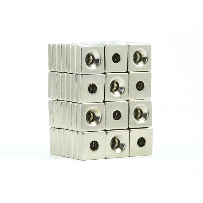 Guy's Budget Range 15 mm x 15 mm x 5 mm N38 grade block with 5.24 mm countersunk hole - PACK OF 10