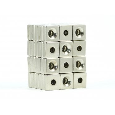 15 mm x 15 mm x 5 mm N38 grade block with 5.24 mm countersunk hole - PACK OF 5