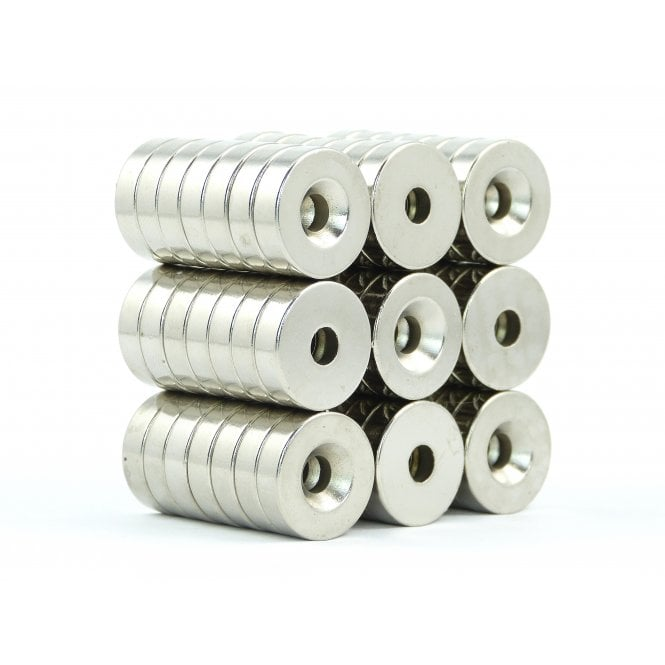 Guy's Budget Range 18 mm x5 mm N38 grade countersunk neodymium ring 5 mm countersunk hole - PACK OF 5