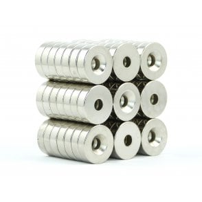 18 mm x5 mm N38 grade countersunk neodymium ring 5 mm countersunk hole - PACK OF 5