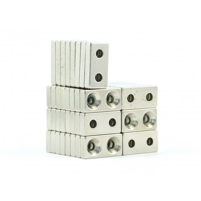 Guy's Budget Range 20 mm x 10 mm x 4 mm N38 grade block with two 3.2mm countersunk holes - PACK OF 10