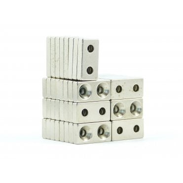 20 mm x 10 mm x 4 mm N38 grade block with two 3.2mm countersunk holes - PACK OF 25