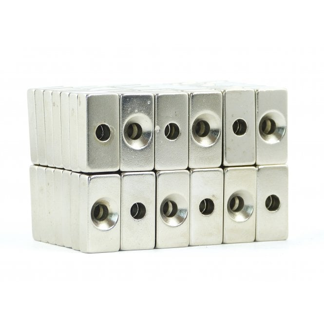 Guy's Budget Range 20 mm x 10 mm x 5 mm N38 grade block with one 4.25mm countersunk hole - PACK OF 25