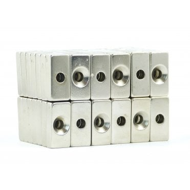 20 mm x 10 mm x 5 mm N38 grade block with one 4.25mm countersunk hole - PACK OF 25