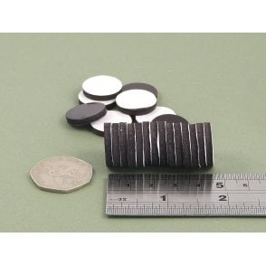20 mm x 3 mm self adhesive flexible magnetic disk - PACK OF 50