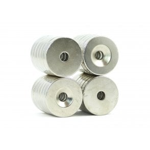 25 mm x 5 mm N38 grade countersunk ring 5.5 mm countersunk hole - PACK OF 5
