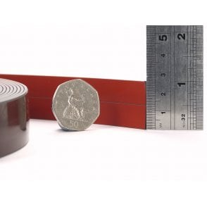 25mm wide RED COATED flexible self adhesive magnetic strip - by the metre