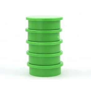31.2mmx 9.5mm office magnet pack of 5- all GREEN