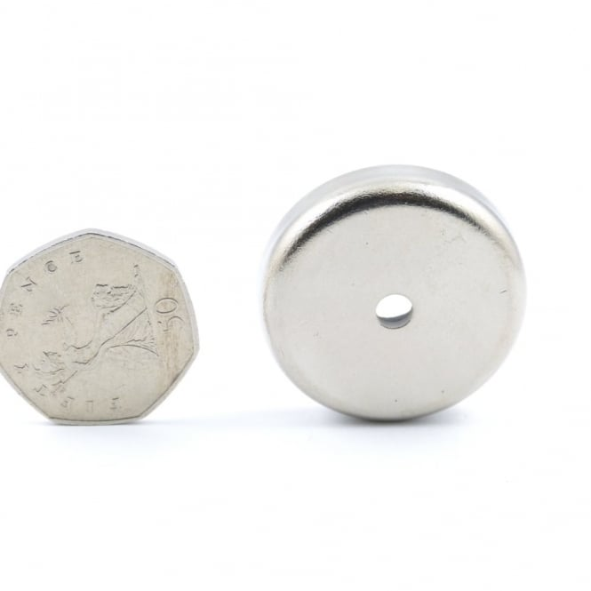 Guy's Magnets 35.5 mm x 7 mm Ferrite pot magnet with 4.8mm hole