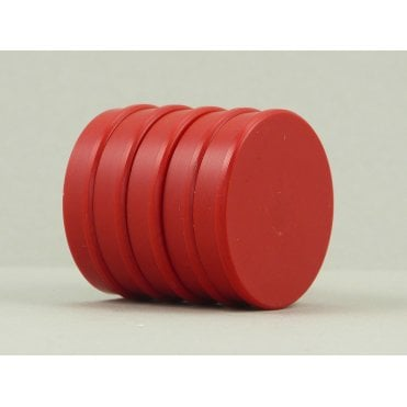 35mm x 7mm office magnet pack of 5- all RED