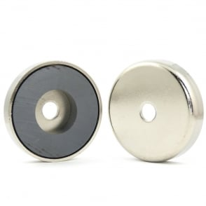 50mm X 10.5mm Ferrite pot magnet with 8.5mm hole