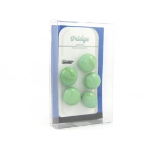 Glass Pebble fridge /whiteboard magnets GREEN - pack 5