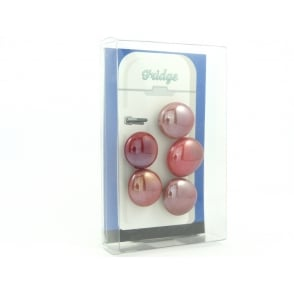Glass Pebble fridge /whiteboard magnets RED - pack 5