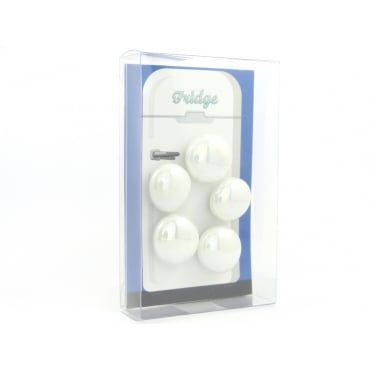 Glass Pebble fridge /whiteboard magnets WHITE - pack 5