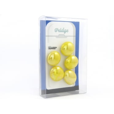 Glass Pebble fridge /whiteboard magnets YELLOW - pack 5