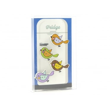 Wooden Bird Fridge Magnets - box of 4