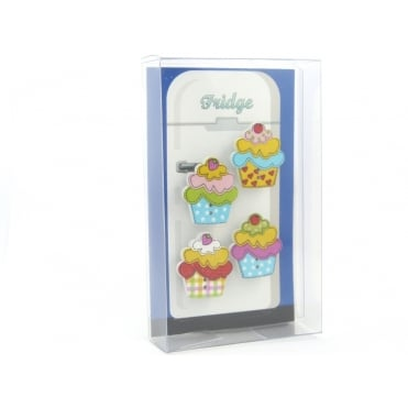 Wooden cupcake Fridge Magnets - box of 4