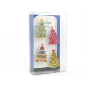 Wooden large Christmas tree Fridge Magnets - box of 4