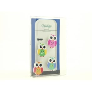 Wooden Owl Fridge Magnets - box of 4