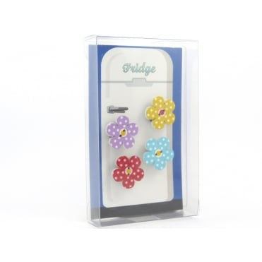 Wooden spotty flower Fridge Magnets - box of 4