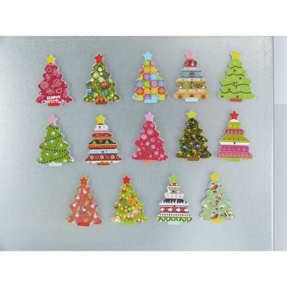 Large Christmas Tree: Wooden Large Christmas Tree Fridge Magnets