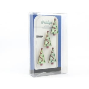 Wooden Shabby Chic Christmas tree Fridge Magnets - box of 4